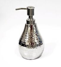 NEW REFLECTIVE SILVER TONE 3D HAMMERED DESIGN MIRROR,RESIN SOAP DISPENSER