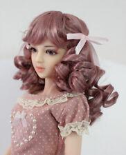 "1/6 1/4 bjd 6-7"" doll head smokey pink wig yosd dollfie Luts Iplehouse lati"