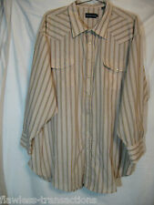 PANHANDLE SLIM Long Sleeve Pearl Snap Striped Western Shirt Size Mens 20/36 NEW