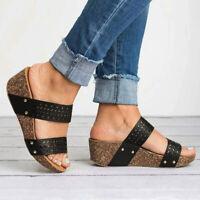Women Wedge Heel Sandals Slipper Ladies Summer Casual Platform Slider Shoes Size