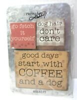 Dog Sayings Magnets  Set of 3 on Metal Board  Primitive by Kathy