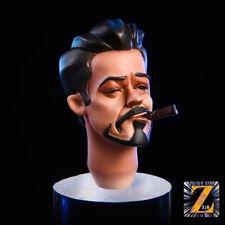 1/6 Iron Man Tony Head Carved Anime Cartoon Edition W/ MK47 Glasses Figure Model