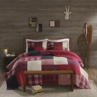 COZY SOFT LODGE LOG CABIN COUNTRY WESTERN WHITE BEIGE GREY RED BLACK QUILT SET