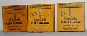 Three 100ft rolls Vintage Kodak Plus-X Negative Movie Film - NEW OLD STOCK - NR