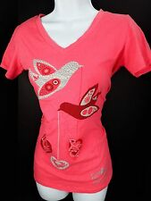 Small Katy Did Pink V Neck T Tee Shirt Love Peace Hope Birds Bling Womens S