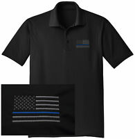 NEW THIN BLUE LINE Embroidered Wicking DRYFIT Black Polo Shirt -Free Shipping!