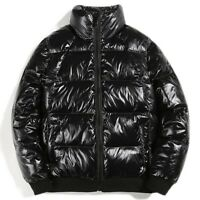 Men Winter Puffer Coat Cotton Padded Jacket Zipper Outwear Glossy Shiny Warm New