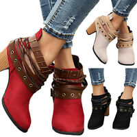 Women Winter Martin Ankle Retro Boots Strappy Mid Block Heel Casual Zipper Shoes