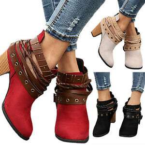 Women's High Block Heel Ankle Boots Casual Buckle Lace Up Chelsea Shoes Size