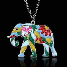 Animal Elephant Printing Pattern Pendant Necklace Women Sweater Chain Jewelry