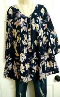 Catherines NWT Slinky Stretch Blue Purple Pink Floral Tunic Top Plus 3X 26W 28W