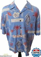 Reyn Spooner 100% Silk Men's Blue Red Gray Floral Palm Tree Hawaiian Shirt Large