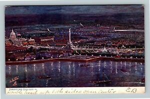 Jamestown Exposition 1907, Tuck Series 2591, Aerial of Grounds at Night Postcard