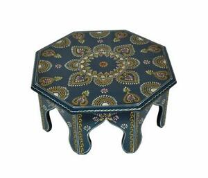 "New Rajasthani Handmade Wooden Round Pooja Puja Chowki Bajot Worship Stand 14"""