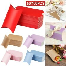 50/100X Wedding Favor Box Cute Kraft Paper Pillow Party Favour Gift Candy Bag UK