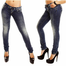 Damen Jeans Lantis Stretch Denim slim fit skinny Hüft Hose Used Look Röhrenjeans