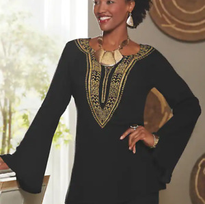 Ashro Hasina Ethnic African American Pride Black Gold Top Blouse S M L XL 1X