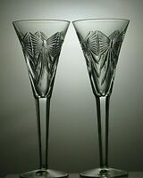 Lovely Pair of Waterford Crystal Millennium Toasting Champagne Flutes Happiness