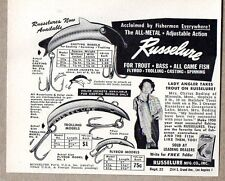1950 Print Ad Russelure Casting & Trolling Fishing Lure 9 lb 10 oz Rainbow Trout