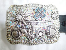 Nocona Rhinestone Buckle Rodeo Cowboy Steer Resistol Leather Belt S