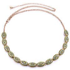 Womens Ladies Bronzes/Gold Rhinestone Belt Waist Chain Diamante Diamonds 708