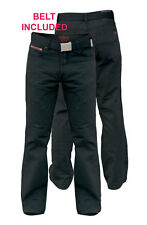 "DUKE LONDON MENS BEDFORD CORD JEANS TROUSERS WITH BELT BLACK 30""-40"" (152503)"