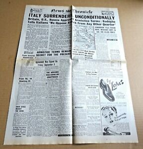 REPRODUCTION WW2 NEWS CHRONICLE NEWSPAPER  SEPT / 9 / 1943  ITALY SURRENDERS