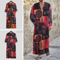 Men's Desert Dress Full Length Kaftan Long Sleeve Arab Robe Ethnic Tunic Dress
