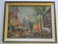 VINTAGE IMPRESSIONIST IMPRESSIONISM OIL PAINTING LARGE FRENCH PARIS STREET SCENE