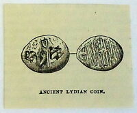 1882 small magazine engraving~ ANCIENT LYDIAN COIN, Money