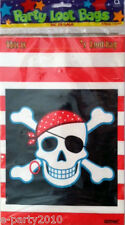 PIRATE Skull and Crossbones Plastic TREAT SACKS (8ct) ~ Birthday PARTY Supplies