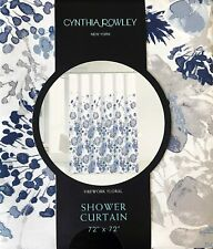 "Cynthia Rowley Fireworks Floral Shower Curtain White Blue & Gray 72"" x 72"""