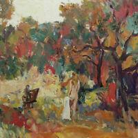 Art Oil Painting RM Mortensen Original Landscape Meadow Nude Model Artist