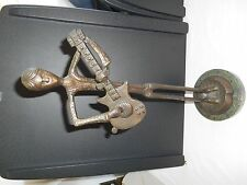VINTAGE BRONZE BRASS? GUITAR PLAYER ON A GREEN MARBLE BASE.APP. 15'' TALL .