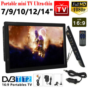 7/9/10/12/14inch Portable 1080P HD TV Freeview HDMI Digital Television Player UK