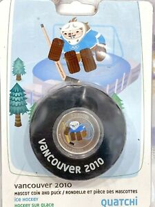 2010 Vancouver Olympics 50 Cent Quatchi Coin and Puck
