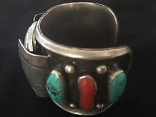 Coral Watch Cuff Bracelet Vintage Sterling Silver Navajo Turquoise