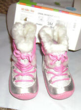 Stride Rite Crib & Crawl Step 1 Snowdrop Pink Silver Boot Shoes sz 3  back zip
