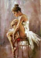 Hand Painted Portrait Art Oil Painting On Canvas Ballet Dancer girl #321No Frame