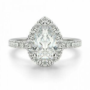 1.40 Ct Pear Cut Diamond Engagement/Wedding Ring solid 18K White Gold