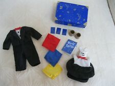 "Madeline 8"" Doll Magic Set Tuxedo Rabbit In Hat Cards Magic Book Scarves Trunk+"