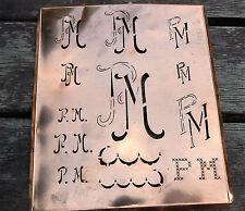 """Monogramm """" PM """" Wäschemonogramm Wäscheschablone Wäschezeichen 11/13 cm KUPFER"""