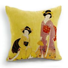 Retro Style Japanese Women Geisha Home Decorative Pillow Case Cushion Cover 18''