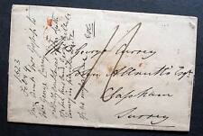 UK GREAT BRITAIN STAMPLESS FOLDED LETTER 1823 to George Curry