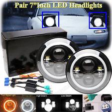 "LED HALO Hi/Lo Headlights Turn Amber Crystal H4 7"" for Mazda Miata MX5 MX-5"