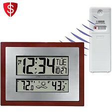 Atomic Clock Temperature Weather Forecast Indoor Outdoor Date Digital Wireless