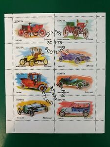Staffa Island Scotland 1973 Older automobiles  8 stamp mini sheet CTO