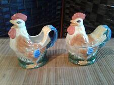 Vintage Chicken ~Rooster Ceramic Lidded Sugar Bowl & Creamer Collectible Set