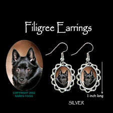 Schipperke Dog - Silver Filigree Earrings Jewelry
