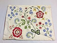 ETHNIC European Embroidered FLORAL Pillow SHAM /Case Coordinated STRIPED Back